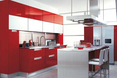 Cocina en color rojo - Cocinas color burdeos ...