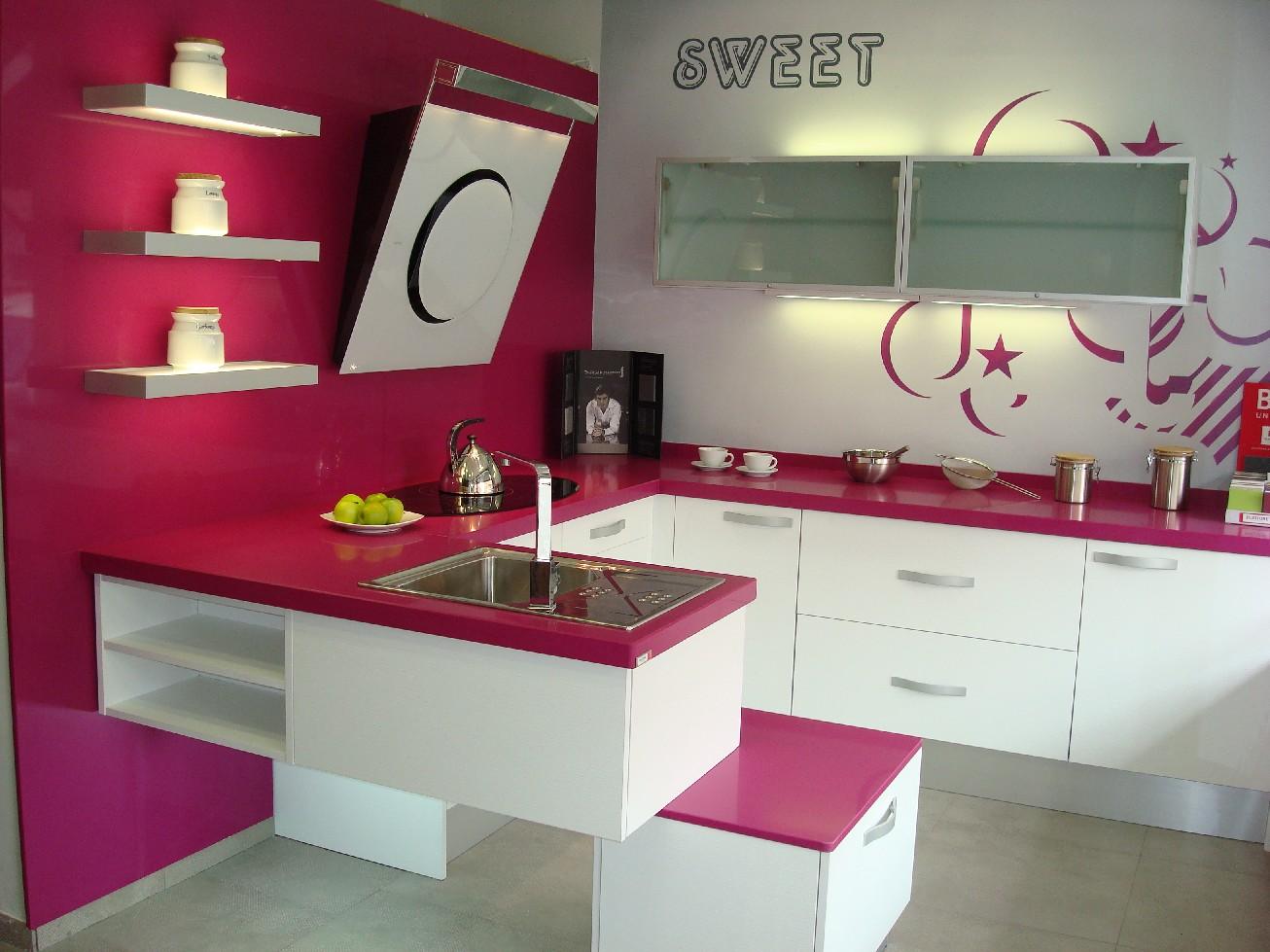 Cocina fucsia linea 3 cocinas - Cocinas rosa fucsia ...